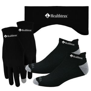 Performance Runners Text Gloves-Earband-Socks Combo