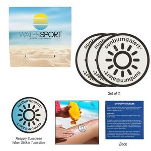 3-Pack Sunburn Alert UV Color-Changing Stickers With Custom Pack