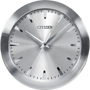 Citizen Wall Clock with Gray Dial in Brushed Silver-Tone Frame