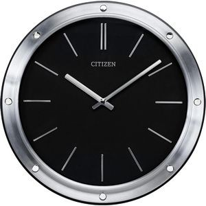 Citizen Brushed Silver Wall Clock with Black Face and Silver Markers