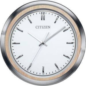 Citizen Wall Clock with Light Beige Wood and Silver-Tone Frame